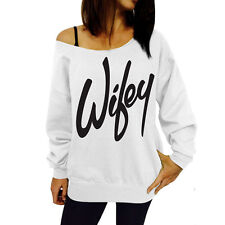 Women Off Shoulder Letter T-Shirt Tops Sweatshirt Jumper Sweater Pullover Blouse