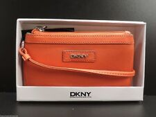 DKNY Leather Wristlet Donna Karan New York Orange Clutch Handbag W Box New!