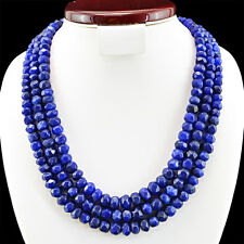 924.50 CTS EARTH MINED 3 LINE RICH BLUE SAPPHIRE ROUND FACETED BEADS NECKLACE