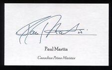 Paul Martin Signed 3x5 Index Card Autographed Signature Canada Prime Minister
