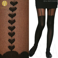 HEART MOCK SUSPENDER TIGHTS - Vintage Cute Sexy Over Knee Thigh High Pantyhose