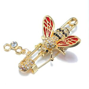 Sparkling Red Honey Bee Safety Pin Brooch Lapel Pin Badge Party Wedding Fashion