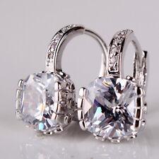 white topaz women luxury hoop earring Fashion 18K white gold filled princess