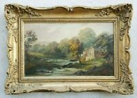 Antique 1800's Oil Painting Northeast American River Landscape 19c Hudson School