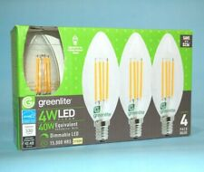 Greenlite LED Candelabra Light Bulb B10 NEW 4 Pack Decorative Chandelier 4W