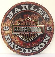 Ande Rooney HARLEY DAVIDSON STONE RUST Tin Motorcycle Garage Man Cave Sign  New
