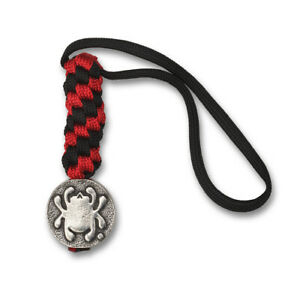 Spyderco Lanyard Black and Red Paracord Pewter Bead BEAD5LY Keychain Fob