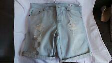 Mens Denim Co Bleached Denim Distressed/Ripped shorts W 36 Capri Bermuda Cargo