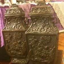 Fabulous Pair Of Antique Asian Bronze Urns/Vases With High Relief!