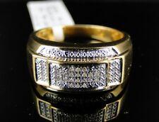 Mens Yellow Gold Finish Genuine Diamond Pinky Ring Band 1/10 Ct