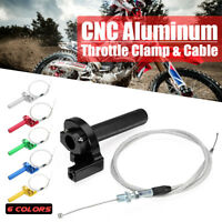 7/8'' CNC Billet Twist Throttle Tube Clamp Assembly + Cable Pit Quad Dirt Bike