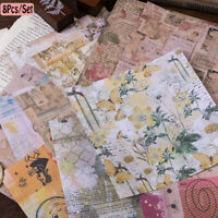8pcs/set Vintage Flowers Paper Stickers DIY Scrapbooking Photo Album Decorations