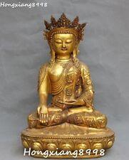 "18""Chinese Bronze Gilt Buddhism Shakyamuni Sakyamuni Amitabha Buddha Tara Statue"