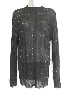 NEXT Women's Black Semi-Sheer Studded High Neck Knitwear Top. Size UK 16. NEW.