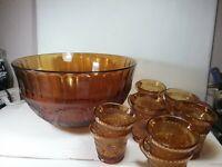 Vintage Tiara Amber Glass Punch Bowl  Set 13 pieces
