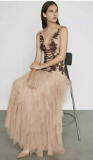 BNWT BCBG MAXAZRIA Floral Embroidered Tulle Gown Maxi Dress Size 6 Nude