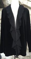 NWT Chico's Travelers Black Velvet Chiffon Trim Open Front Jacket 2 = M L