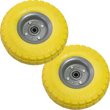 "2x 10"" Yellow Sack Truck Trolley PU Replacement Wheels Tyres TUBE LESS - Amtech"