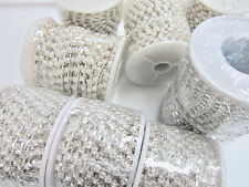 2 yard Pearly Bead Jewel 3mm Stud/Silver Chain/Trim/trimming/lace/craft E4-Pearl