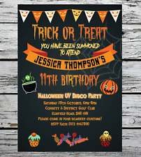 10 Personalised Halloween Birthday Disco Party Invitations Fancy Dress Boy Girl