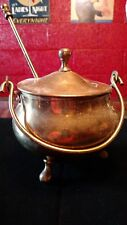 Collectable Unique Old Brass Cauldron Fire Pot, Fireplace Lighter with Dipper