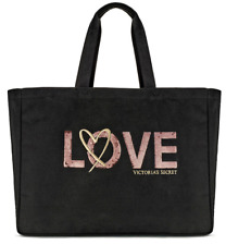 VICTORIA'S SECRET LIMITED EDITION SEQUIN LOVE TOTE CARRYALL BAG TOTE 2017 BLACK