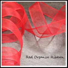 Christmas Ribbon RED ORGANZA 38mm x 4 meters - Wired Ribbon