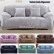 Solid Color Velvet Sofa Slipcover Stretch Protector Furniture Cover Living Room