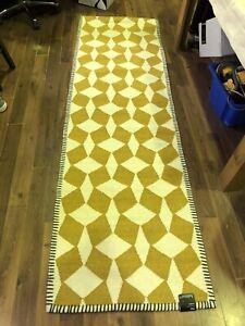 HABITAT TILES mustard/white flat weave wool Runner 75 x 250cm only £75 FREE P&P