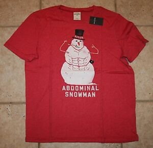 NWT Abercrombie Boys Large Abdominal Snowman Christmas Red T-Shirt