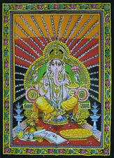 Dios Hindú Kiran Ganesh estampado con lentejuelas Algodón Colgante de pared