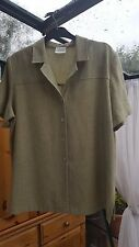 Eastex Short Sleeved Green Jacket, Collared, Hip Length, Size 16, VGC