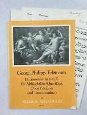 Noten. Telemann. 13. Triosonate in e-moll.   Partitur und Stimmen.