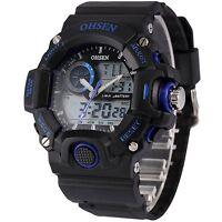 OHSEN Mens LCD Alarm Stopwatch Black Waterproof Sport Digital Quartz Wrist Watch