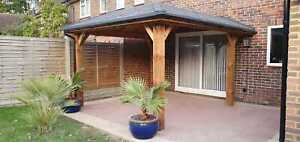 LEAN TO WOODEN GAZEBO *****3 SIZES AVAILABLE***** FULLY INSTALLED