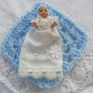 Tiny Dolls House Bisque Baby Doll in Beautiful Gown with Crochet Blanket1:12 NEW