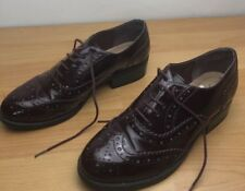 Ladies burgundy lace up brogues- size uk 5