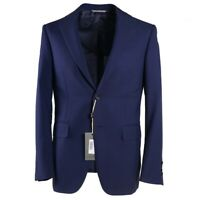 NWT $2250 CANALI Slim-Fit Woven Darker Blue Wool and Silk Suit 38 R (Eu 48)