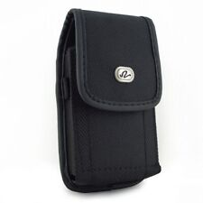 Black Vertical Rugged Canvas Case Cover Protective Pouch W1K for Cell Phones