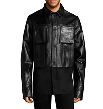 Helmut Lang black genuine heavy leather jacket shirt bottom NEW size L $1095