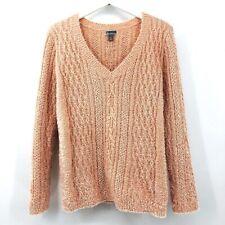 Chelsea 28 Eyelash Pullover V Neck Sweater Womens SZ SM Long Sleeve Pink Salmon