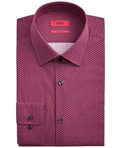 Hugo Boss Sharp Men's Cotton Slim Fit Shirt Red Navy Microprint by HUGO $98
