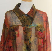 Chico's -Sz 3 XL - Silk Colorful Luxurious Paisley Cherry Blossom Shirt Jacket