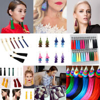 Bohemian Women Earrings Vintage Long Tassel Fringe Crystal Boho Dangle Earrings
