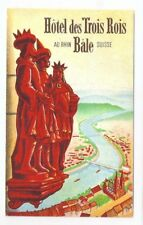 Vintage Hotel Luggage Label - Hotel des Trois Rois - Bale, Switzerland - Mint