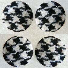 4 Stück Stoffknöpfe, Vintage, Hahnentritt, schwarz / weiß