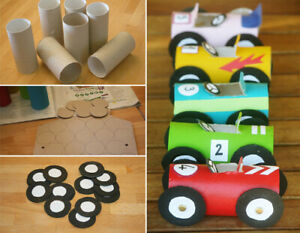 Toys from Toilet Paper Core, Toy Cars for babies from recycled Toilet Paper