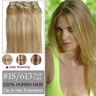 7PCS Full Head Set Clips In Human Hair Extensions 100% Remy Hair #18/613
