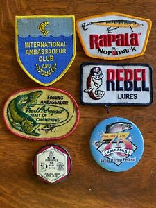 Vintage Lot of Fishing Patches and Buttons REBEL RAPALA ABU ARBOGAST