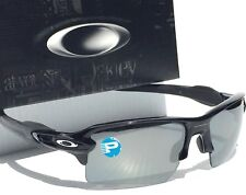 NEW Oakley FLAK JACKET 2.0 Black POLARIZED CHROME Iridium Len Sunglass oo9188-08